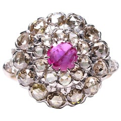 Platinum & 18K Victorian Estate Vintage Antique Ruby and Rose Cut Diamond Ring
