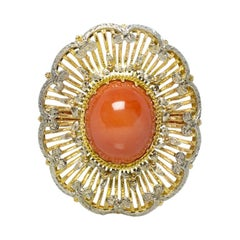 Estate Vintage Antique Victorian 18K Yellow & White Gold Coral Hand Made Ring