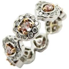 Estate 18K White & Rose Gold Pink and White Diamond Eternity Halo Band Ring