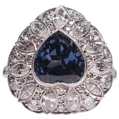 Estate Vintage Platinum GIA Certified Sapphire Heart and Diamond Antique Ring