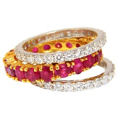 Stackable Ruby Diamonds eternity Ring 14kt Natural Vivid Reds Stacking 7.42ct
