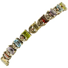 Diamonds Rubies Peridots Amethysts Topazes Garnets Rose Gold and Silver Bracelet