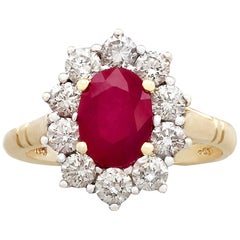 1.88 Carat Ruby and Diamond Gold Cluster Ring