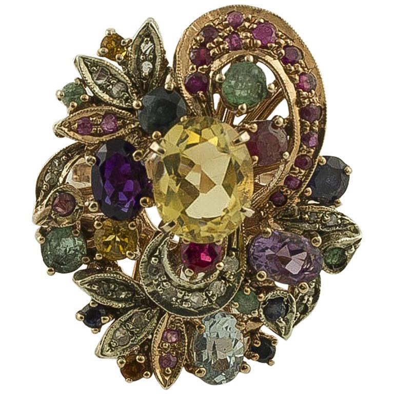 Diamonds Ruby Emerald Sapphires Topazes Amethyst Rose Gold Silver Ring