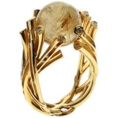 Champagne Diamonds Rutilated Quartz 15.64 Carat 18 Karat Yellow Gold Ring