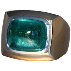 Robert Vogelsang 11.63 Carat Mint Green Tourmaline Platinum Gold Cocktail Ring
