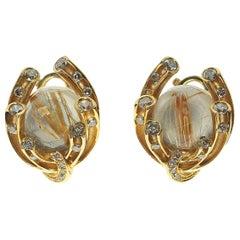 Champagne Diamonds Rutilated Quartz 6.69 Carat 18 Karat Yellow Gold Earrings