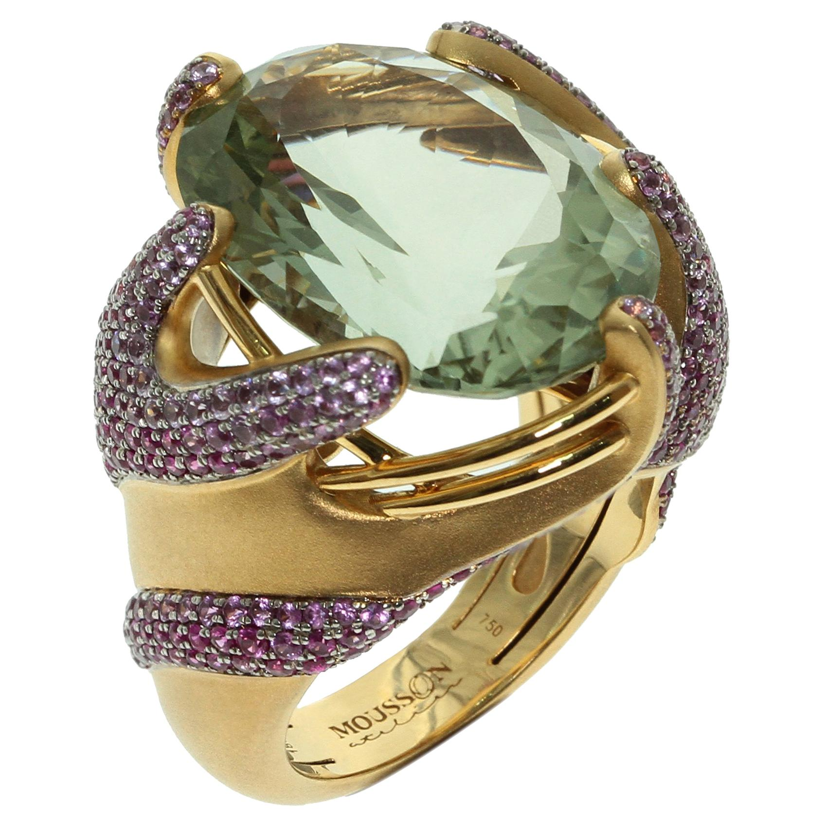 Green Amethyst Pink Sapphire 18 Karat Yellow Gold Ring