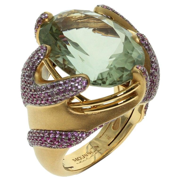Green Amethyst Pink Sapphire 18 Karat Yellow Gold Ring For Sale