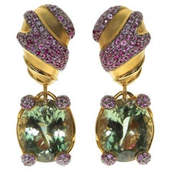 Green Amethyst Pink Sapphire 18 Karat Yellow Gold Earrings