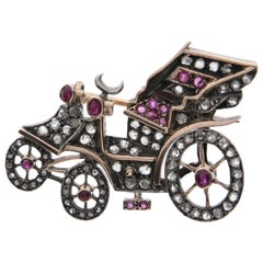 Car Carriage Brooch with Rose Cut Diamonds and Rubies, circa 1900