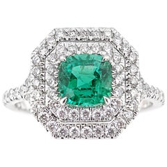 Zambian Emerald and Diamond Ring, 1.60 Carat