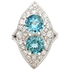 1950s 3.03 Carat Aquamarine and 1.42 Carat Diamond White Gold Marquise Ring