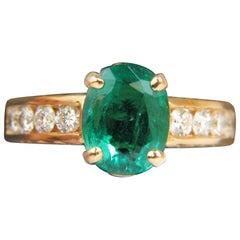 3.58 Carat Natural Zambia AAA Green Emerald Diamond Ring 14 Karat G/VS