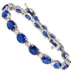 10.65 Carat Natural Sapphire Diamonds Tennis Bracelet 14 Karat Vivid Blues
