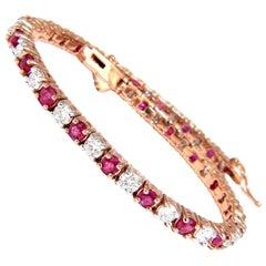 6.51 Carat Vivid Red Natural Ruby Diamonds Alternating Tennis Bracelet 14 Karat