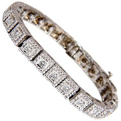 2.30 Carat Natural Diamonds Bead Box Rope Twist Tennis Bracelet 14 Karat G/VS