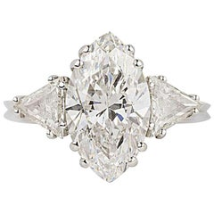 GIA Certified 3.42 Carat Marquise Diamond Three-Stone Ring D/VVS2