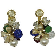 French Vintage Gripoix Poured Flower Glass Drop Earrings