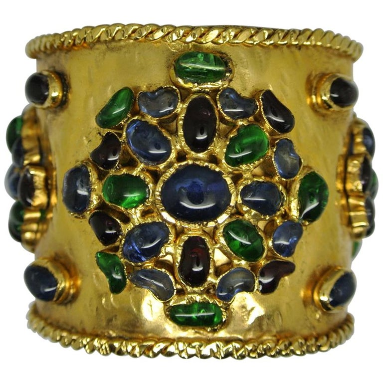 Vintage Gripoix French Poured Glass Byzantine Large Cuff Bracelet