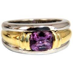 GIA Certified 1.59ct Pink Purple Natural No heat Sapphire Ring 18kt & Platinum