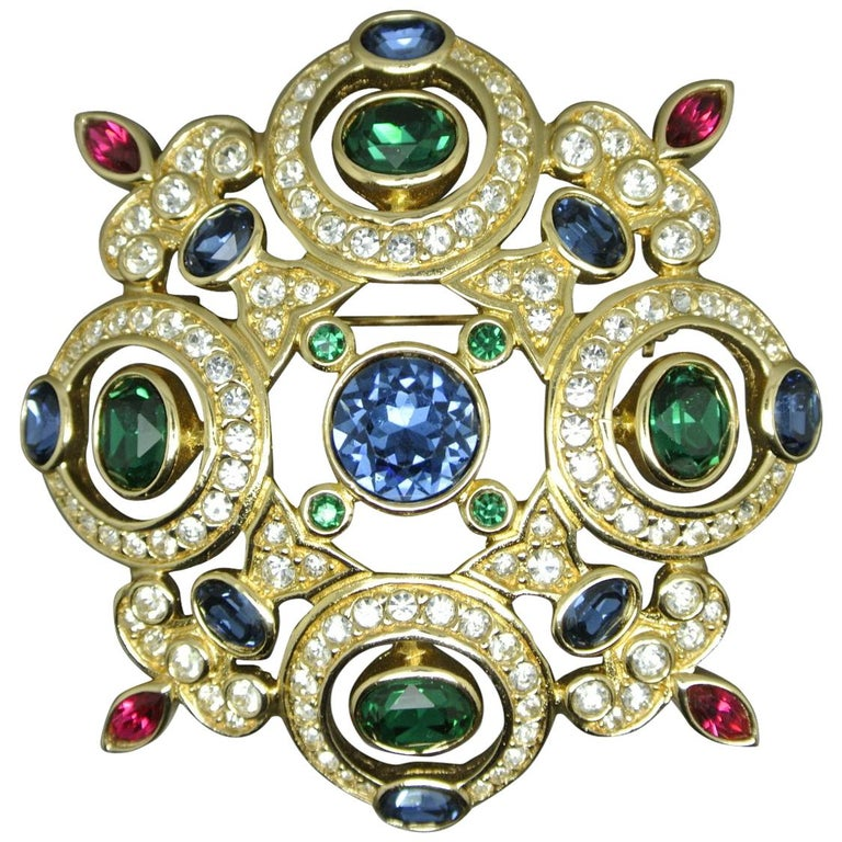 Vintage Christian Dior Cross Blue Green Crystal Brooch