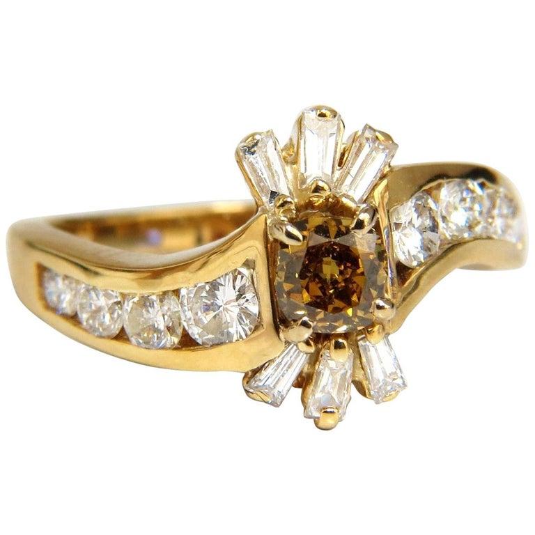 1.62 Carat Natural Fancy Color Diamond Ring 14 Karat For Sale