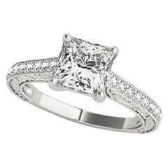 1.27 Carat Princess and Round Cut Diamond Engagement Ring GIA Certified
