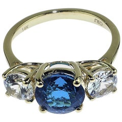 Blue Tourmaline and White Zircon Cocktail Ring