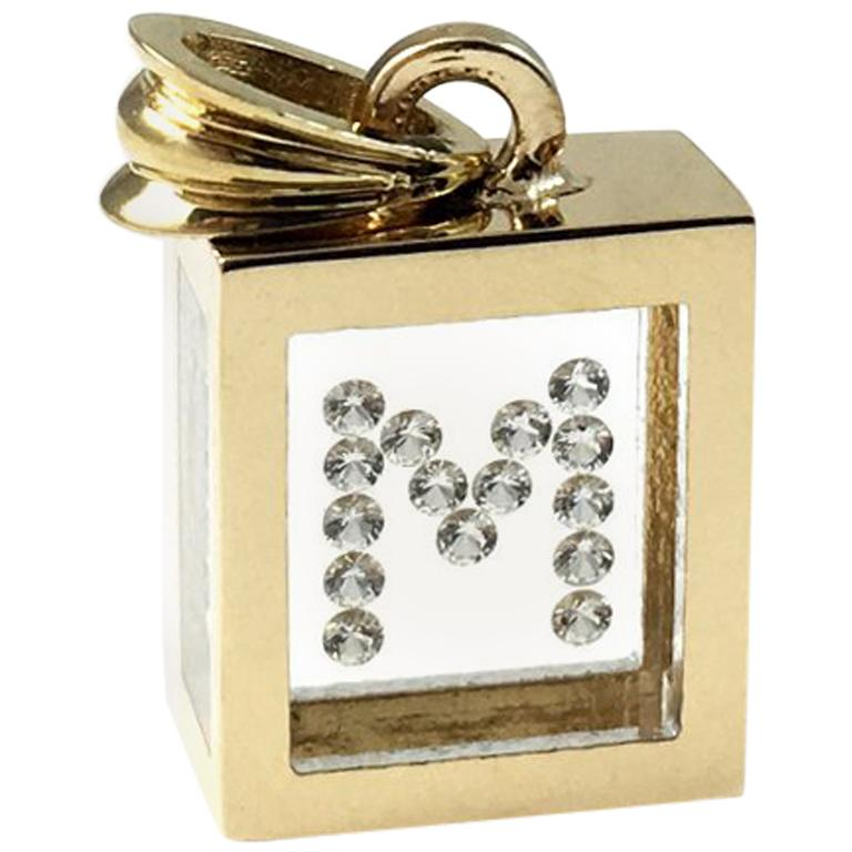 Incogem Floating Diamond Pendant: 14k Yellow Gold (Letter M)