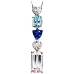 27.60ct natural kunzite tanzanite aquamarine diamonds dangle necklace 14kt