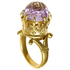Imperial Crown Solitaire Ring in 9 Karat Gold and Checkerboard Cut Morganite