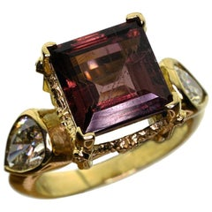 9kt Yellow Gold, approx 4ct of Pear Diamonds and Tourmaline Ring
