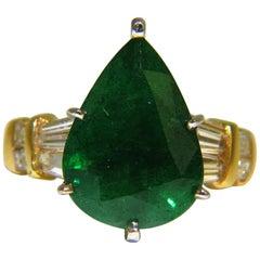 6.50 Carat Natural Emerald Diamond Ring 14 Karat