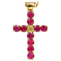 5.07 Carat Brilliant Natural Fancy Yellow Blood Ruby Diamond Cross Pendant