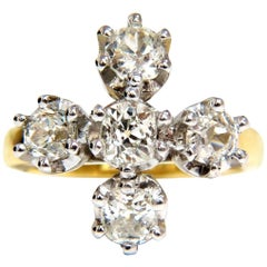2.05 Carat Natural Five Diamonds Cross Ring 18 Karat and Platinum