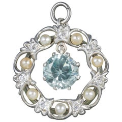 Antique Edwardian Blue Zircon Pendant Diamond Pearl, circa 1915
