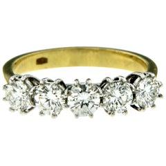 Estate 1 Carat Diamond Five-Stone Gold Ring