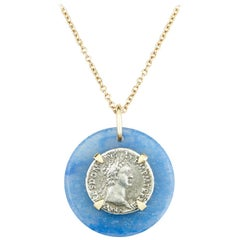 Dubini Domitian Ancient Silver Coin Blue Quartz Medallion Gold Necklace