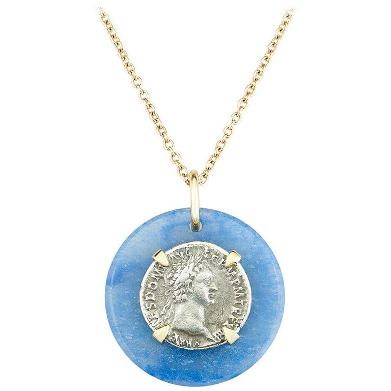 Dubini Domitian Ancient Silver Coin Blue Quartz Medallion 18K Gold Necklace