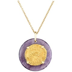 Dubini Ancient Venetian Ducat Coin Amethyst Medallion 18K Yellow Gold Necklace