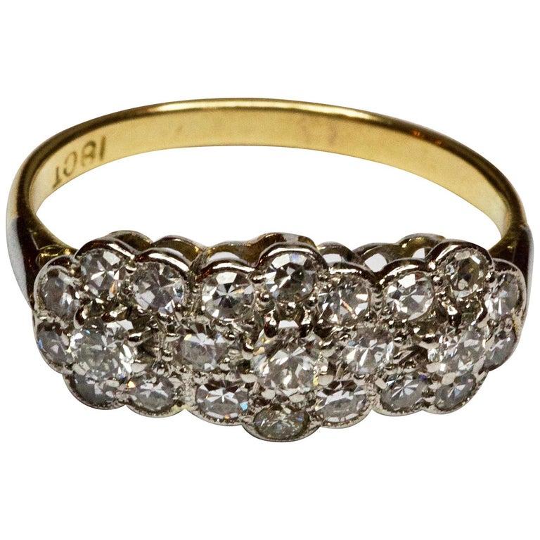 Art Deco 18 Carat Gold and Platinum Triple Cluster Diamond Ring