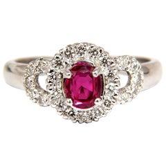 GIA Certified 1.31 Carat Natural No Heat Ruby Diamond Ring 18 Karat Origin