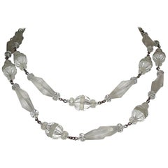 Frosted Camphor Glass Bead Flapper Necklace