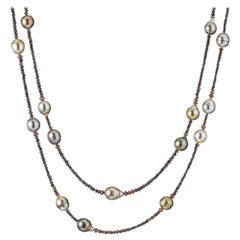 18 Karat Rose Gold Fiji Pearl and Diamond Beaded Necklace