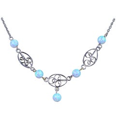 Antique Victorian Opal Necklace Silver, circa 1900