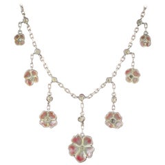 Antique Victorian Plique a Jour Flower Necklace, circa 1900