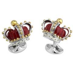 Deakin & Francis Sterling Silver Crown Cufflinks