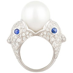 Ella Gafter Zodiac Pisces Ring with South Sea Pearl and Diamonds