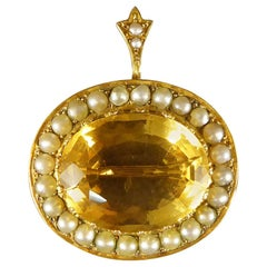 Antique 16 Carat Citrene and Cultured Pearl Brooch in 15 Carat Yellow Gold